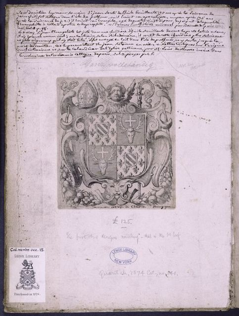 Front pastedown. Notes in modern hand and coat of arms of the abbey of Citeaux.