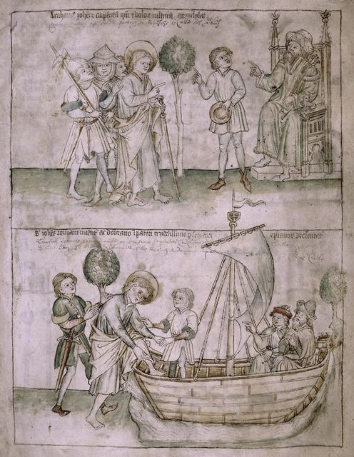 Full-page miniature showing John before the provost, and en route to Rome.  Text, with red placemarkers.
