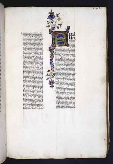 Large initial with painted design in border.
