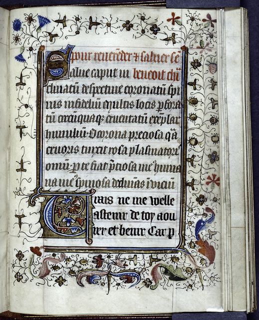 Latin and French text, initials, border design.