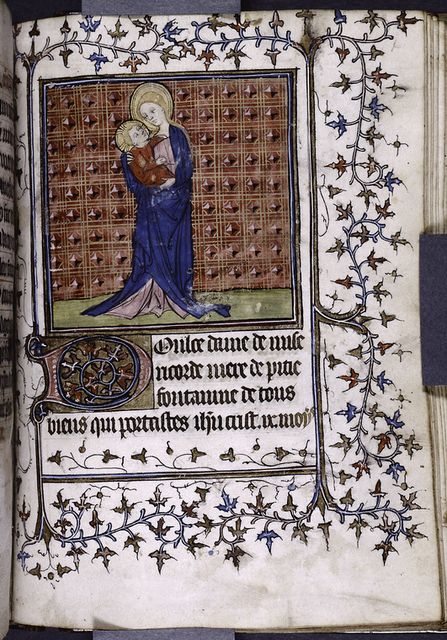 Miniature of Mary and Jesus, border design and initial, French text.