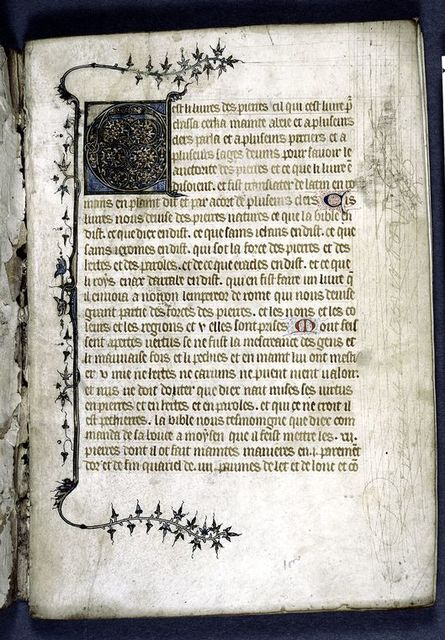 Opening of text.  Six-line opening initial with animal heads and border design.  Small initials.