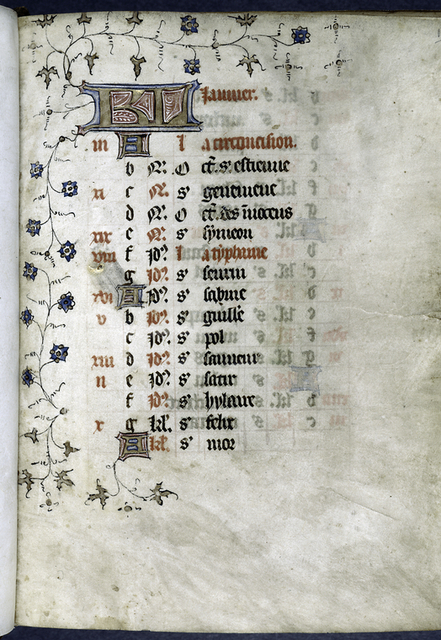 Opening page of calendar, written in French.