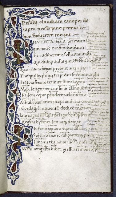 4-line and 3-line gold initials with vinescroll.  Gold rubric.  Opening of text.  Marginal and interlinear glosses.