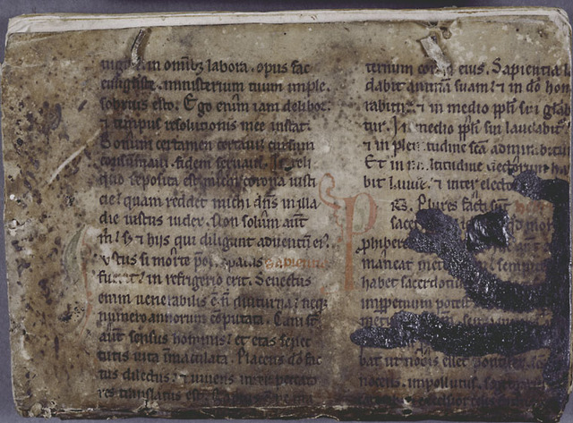 Back cover of manuscript:  vellum page of 15th century missal.