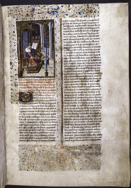 Incipit of text, with initial, rubric, border design.  Miniature showing the figure of the author in a gothic chamber, asleep.  He has a pen in his hand, a book open on a lectern, and other books scattered around.  A cat chases a mouse across the floor.