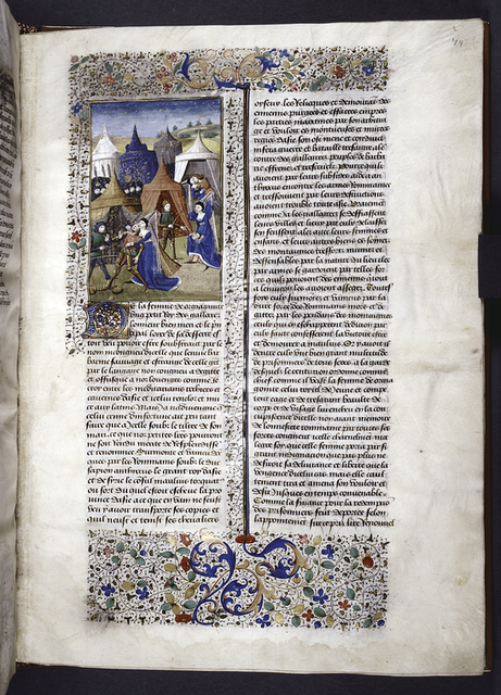 Miniature showing 1. a group of Roman soldiers advancing on the retreating Galatians; 2. Roman centurion's rape of the wife of Orgiagon; 3. she slices his throat while a soldier weighs ransom money; 4. she exposes the severed head. Initial, border design.