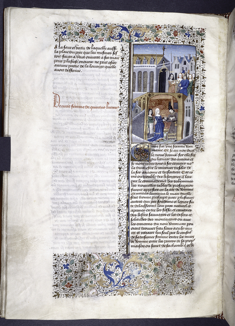 Miniature showing 1. Curia and Quintus Lucretius and a female attendant in a private chamber, with Lucretius' hiding place visible; 2. Curia, feigning grief, approaches townpeople crowded together in a town square. Initial, rubric, border design.