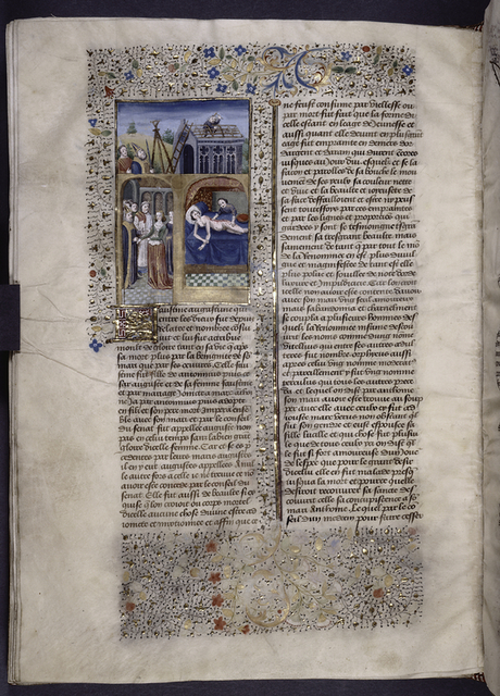 Miniature showing 1. Faustina lying naked and smiling in bed, as an attendent rubs her down with blood; 2. Faustina, wearing crown, stands before Aurelius, a priest, and others; 3. Aurelius observing the construction of temple. Initial, border design.