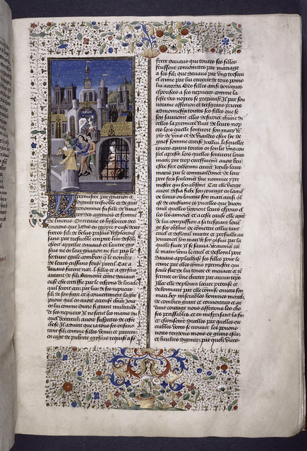 Miniature showing 1. Hypermnestra in a prison cell; 2. Linus and three men murder Danaus; 3. Hypermnestra's sister murders her husband in bed.  Cathedral town and clock tower in background.  Initial, border design.