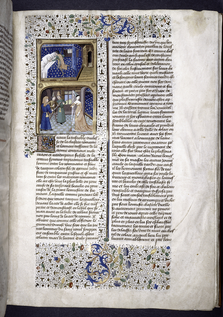Miniature showing:  1. Lucretia lying in a blue-starred canopy bed, while Sextus approaches with his sword raised; 2. Lucretia stabs herself in the chest with a dagger, while Collatinus is prevented from coming to her aid.  Initial, border design.
