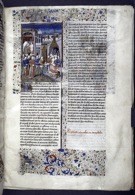 Miniature showing 1. Marriage of Jocasta and Oedipus on the steps of a gothic church; 2. Jocasta appears to argue with Oedipus; 3. Jocasta's and Oedipus' sons go to battle in the presence of their sisters.  Rubric, initial, border design.