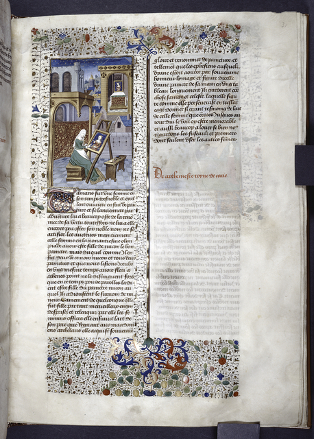 Miniature showing 1. Thamyris seated before an easel in an urban square, and she paints a portrait of Diana; 2. the finished portrait is visible on an altar through the window of a church in the middle distance. Initial, rubric, border design.