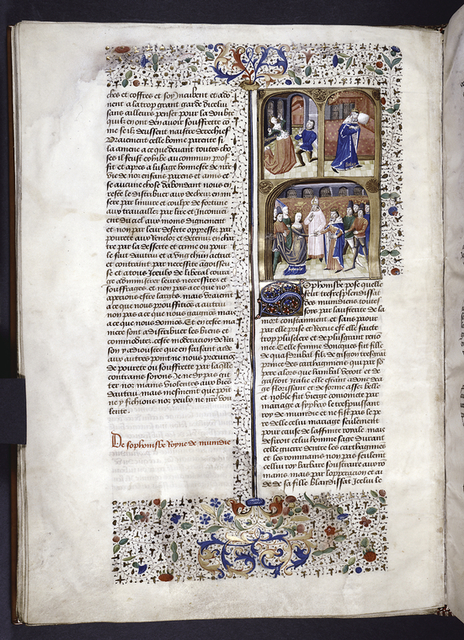 Miniature showing 1. the betrothal of Sophonisba to Syphax; 2. Syphax alone and bereft; 3. Sophonisba stands before a kneeling figure and drinks from a poisoned chalice.  Initial, rubric, border design.