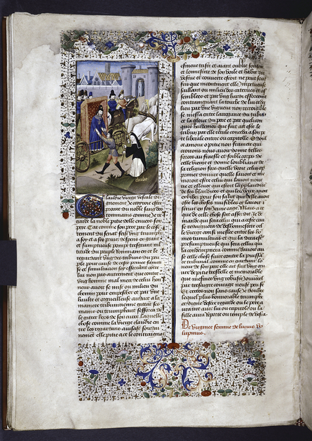 Miniature showing Claudia's father arriving in the Capitol, with an entourage.  A younger man attacks his carriage.  Claudia (a vestal virgin) dressed as a nun, approaches the man, threatening him with a golden rod. Initial, rubric, border design.