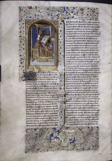 Miniature showing Proba studying at her desk, seated on a blue throne, under a gothic canopy.  She leafs through a book on a lectern; other books are visible.