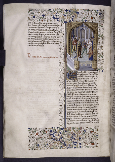 Miniature showing the wedding of Engeldruda and Guido.  The emperor, wearing splendid armor, and other nobles observe.  Initial, border design and rubric.