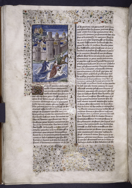Miniature showing three elegant ladies (including Cloelia?) fleeing on horseback across the Tiber from a walled city.  On the far side of the city, soldiers with canon prepare a siege.  Initial, rubric, border design.