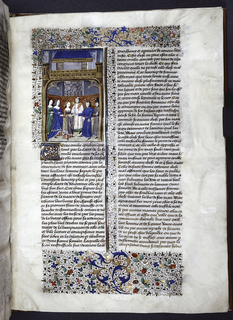 Miniature showing wedding of Scipio Africanus and Amelia in a gothic interior.  A monk performs the ceremony.  Initial and border design.