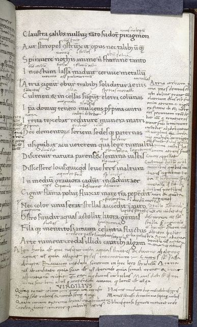 """Page of text with glosses -- name """"Virgilius"""" visible at bottom."""