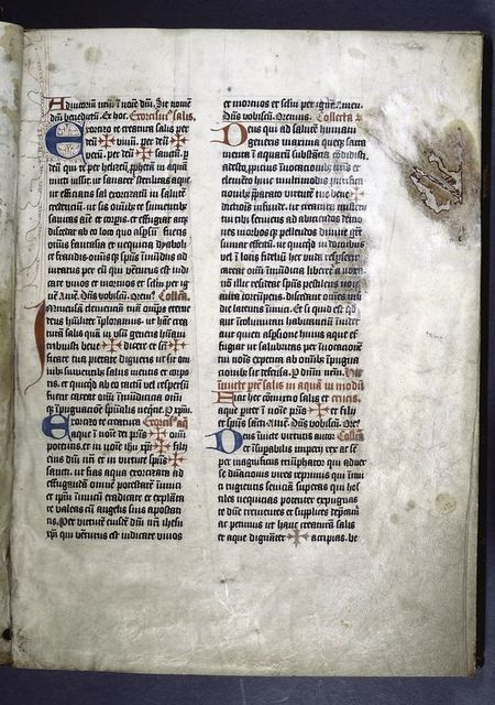 Opening of first text.  3-line initial with opposing penwork.  1- and 2-line initials.  Cross-shaped placemarkers.  Rubrics.