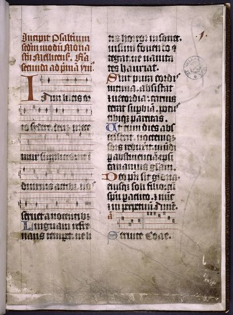 Incipit of text, rubric, music, red and blue initials.