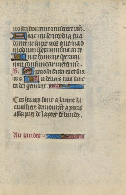 Note of ownership of Janne La Cavilliere in French in the hand of the scribe.