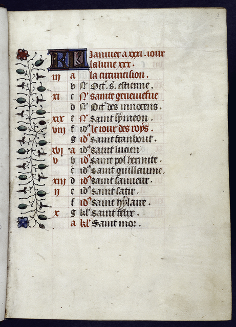 Opening of calendar for the month of January, with entries on every line, in French.