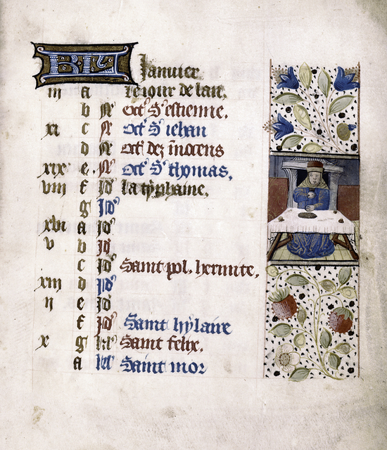 Opening page of calendar, written in French, and miniature of seasonal activity.