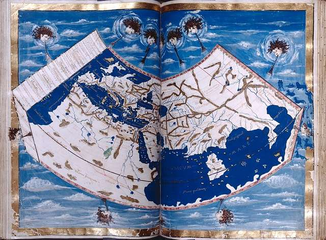 Map of Europe, Africa, the Mediterranean, and Asia.  Personifications of the winds.  Full gold border