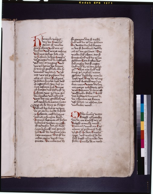 Opening of text, red initials, red slashes as placemarkers f. 1