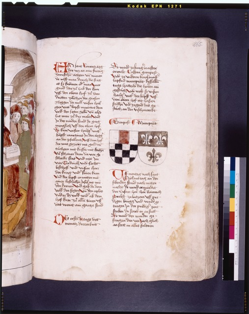 Page of text with coats of arms, initials, and placemarkers f. 265