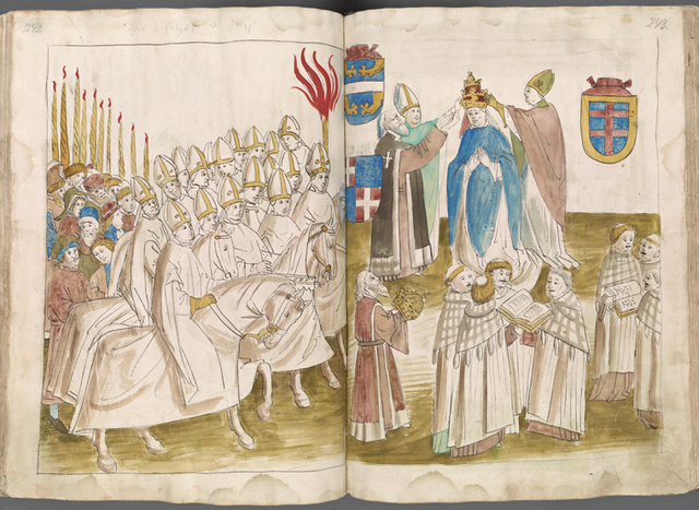 Public coronation of the pope; the emperor with crown in hand stands apart ff. 242-243