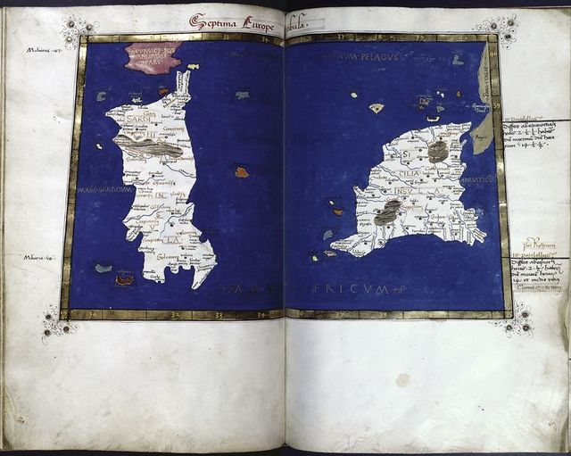 Seventh map of Europe (Sardinia and Sicily), in full gold border.