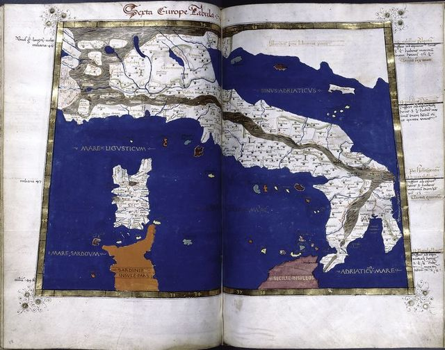 Sixth map of Europe (Italy, Corsica), in full gold border.