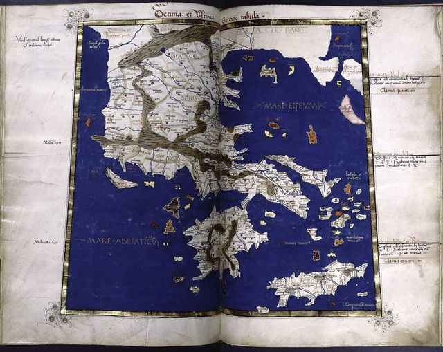Tenth map of Europe (Mainland Greece and the islands), in full gold border.