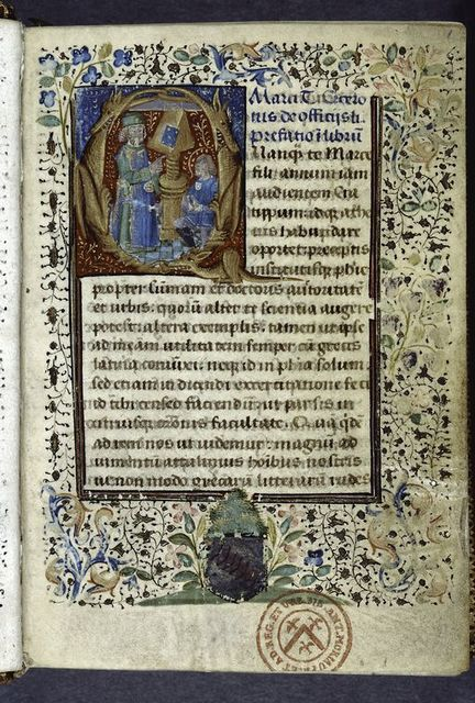 Large initial with miniature and grotesques.  Full border design.  Coat of arms.  Blue rubric.  Opening of De officiis. Stamp of library of Antoine Moriau.