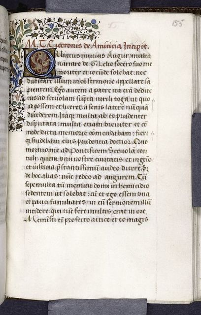 Quarter border, 3-line blue initial on red and gold field, rubric, opening of De amicitia.