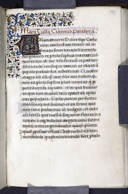 Quarter border, 3-line red initial on gold and blue field, rubric, opening of Paradoxa.