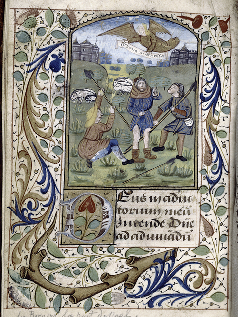 Annunciation to the Shepherds; large initial, border design, placemarkers.