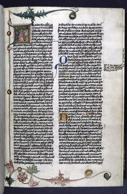 Large opening initial with miniature of Jerome and border design.  3-line blue and red initials, placemarkers.