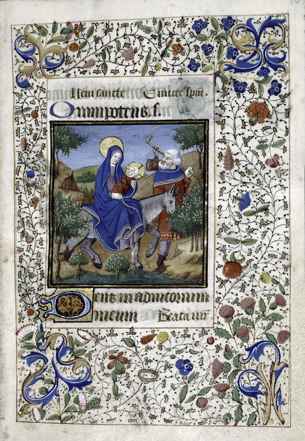 Miniature of Flight into Egypt, initials and border.