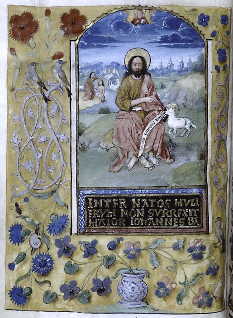 Miniature of John the Baptist and seemingly different style of border decoration. Text in gold.