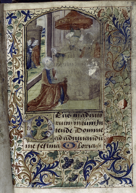 Opening of text, miniature with border decoration, initials.