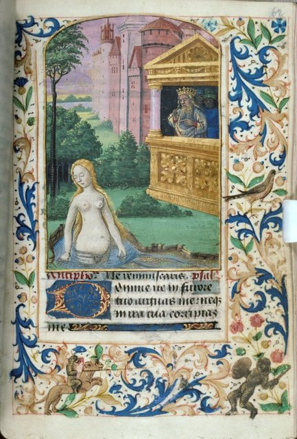 Miniature of David watching Bathsheba bathe, initial, border design, rubric and linefiller.