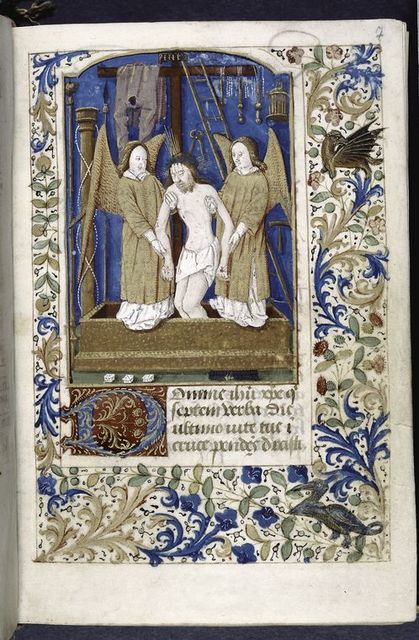 Opening of text, large initial, miniature of Resurrection with instruments of crucifixion, border design with grotesque and bird.