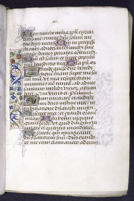 Page of text with 1-line blue and gold initials with red and blue penwork, 2-line initials on gold fields decorated with flowers and grotesque, and border decoration.