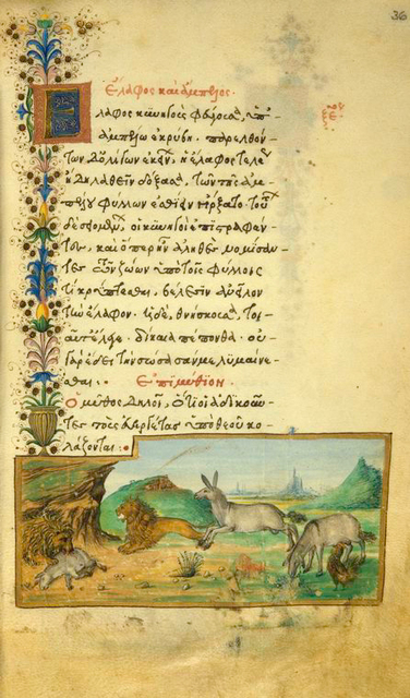 The doe and the vines [cont.]; The donkey, the rooster, and the lion.