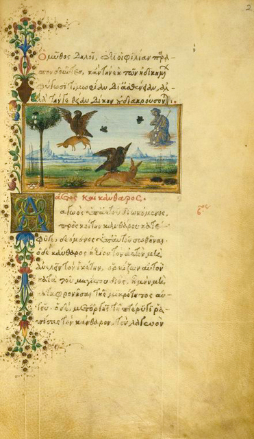 The eagle and the fox [end]; The eagle and the beetle.