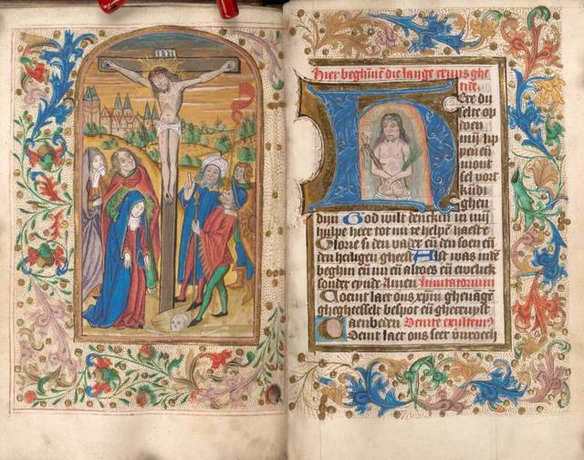 Miniature of Crucifixion and facing text page with historiated initial of the Man of Sorrows